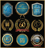 Anniversary gold and blue labels collection, 60 years Royalty Free Stock Photo