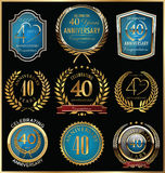 Anniversary gold and blue labels collection, 40 years Royalty Free Stock Image