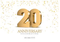 Anniversary 20. gold 3d numbers. Poster template for Celebrating 20th anniversary event party. Vector illustration Royalty Free Illustration