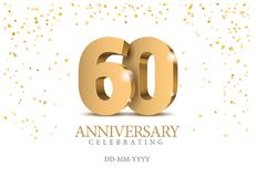 Anniversary 60. gold 3d numbers. Poster template for Celebrating 60th anniversary event party. Vector illustration Royalty Free Illustration