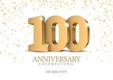 Anniversary 100. gold 3d numbers. Poster template for Celebrating 100th anniversary event party. Vector illustration royalty free illustration