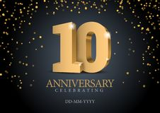 Anniversary 10. gold 3d numbers. Poster template for Celebrating 10th anniversary event party. Vector illustration royalty free illustration