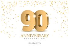 Anniversary 90. gold 3d numbers. Poster template for Celebrating 10th anniversary event party. Vector illustration Royalty Free Illustration