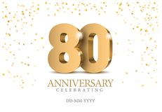 Anniversary 80. gold 3d numbers. Poster template for Celebrating 80th anniversary event party. Vector illustration vector illustration
