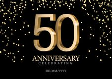 Anniversary 50. gold 3d numbers. Poster template for Celebrating 50th anniversary event party. Vector illustration royalty free illustration