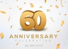 60 Anniversary gold numbers with golden confetti. Celebration 60th anniversary event party template.  Royalty Free Stock Photography