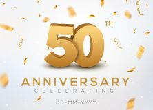 50 Anniversary gold numbers with golden confetti. Celebration 50th anniversary event party template.  Royalty Free Illustration