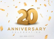 20 Anniversary gold numbers with golden confetti. Celebration 20th anniversary event party template.  vector illustration