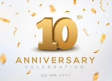 10 Anniversary gold numbers with golden confetti. Celebration 10th anniversary event party template.  Stock Photography