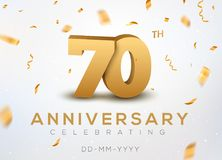 70 Anniversary gold numbers with golden confetti. Celebration 70th anniversary event party template.  Stock Photos