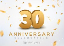 30 Anniversary gold numbers with golden confetti. Celebration 30th anniversary event party template.  Royalty Free Stock Image