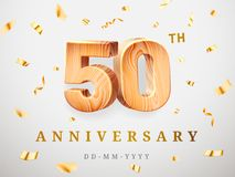 50 anniversary gold wooden numbers with golden confetti. Celebration 50th anniversary, number five and zero. Template. 50 anniversary gold wooden numbers with Stock Images