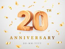 20 anniversary gold wooden numbers with golden confetti. Celebration 20th anniversary, number two and zero. Template stock illustration