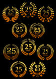 Anniversary golden heraldic laurel wreaths icons Stock Images