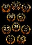 Anniversary golden heraldic laurel wreaths icons Stock Images