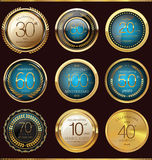 Anniversary golden label collection Royalty Free Stock Image