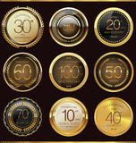 Anniversary golden label collection. Illustration Royalty Free Stock Image
