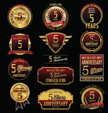 Anniversary golden label collection 5 years Royalty Free Stock Photo
