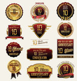 Anniversary golden label collection 10 years. Anniversary golden label collection illustration royalty free illustration
