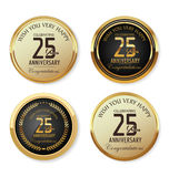 Anniversary golden label collection, 25 years Stock Photos