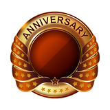 Anniversary golden label with ribbon. Stock Photography