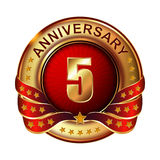 5 Anniversary golden label with ribbon. Vector stock illustration