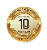 Anniversary golden label 10 years. Anniversary retro golden label 10 years Vector Illustration