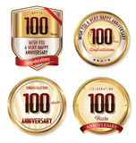 Anniversary golden labels collection 100 years Royalty Free Stock Photo