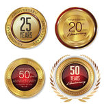 Anniversary golden labels Stock Photo