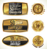Anniversary golden labels Stock Photos