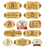 Anniversary golden labels 25 years Royalty Free Stock Photos