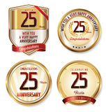 Anniversary golden labels 25 years Royalty Free Stock Photo
