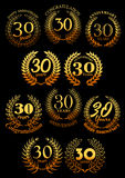 Anniversary golden laurel and olive wreaths icons Royalty Free Stock Images