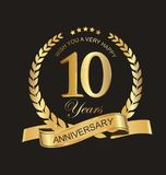Anniversary golden laurel wreath and badges 10 years. Illustration Royalty Free Stock Image
