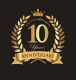 Anniversary golden laurel wreath and badges 10 years vector. Illustration Royalty Free Stock Photos