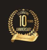 Anniversary golden laurel wreath and badges 10 years vector. Illustration Stock Photos