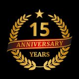 Anniversary golden laurel wreath on black background. Vector illustration Royalty Free Stock Photos