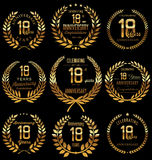 Anniversary golden laurel wreath collection, 18 years. Anniversary retro laurel wreath  collection, 18 years Stock Photos