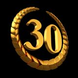 Anniversary Golden Laurel Wreath And Numeral 30 On Black Background. 3D Illustration Stock Photo