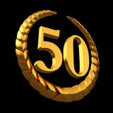 Anniversary Golden Laurel Wreath And Numeral 50 On Black Background Stock Image