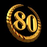 Anniversary Golden Laurel Wreath And Numeral 80 On Black Background. 3D Illustration Royalty Free Stock Photos