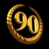 Anniversary Golden Laurel Wreath And Numeral 90 On Black Background Stock Photos