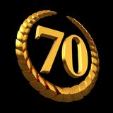 Anniversary Golden Laurel Wreath And Numeral 70 On Black Background. 3D Illustration stock illustration