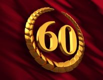 Anniversary Golden Laurel Wreath And Numeral 60 On Red Flag. 3D Illustration Royalty Free Stock Image