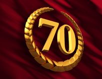 Anniversary Golden Laurel Wreath And Numeral 70 On Red Flag. 3D Illustration stock illustration