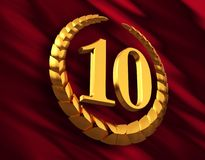 Anniversary Golden Laurel Wreath And Numeral 10 On Red Flag. 3D Illustration Royalty Free Stock Image