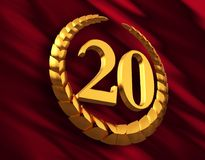 Anniversary Golden Laurel Wreath And Numeral 20 On Red Flag. 3D Illustration Royalty Free Stock Photo