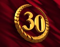 Anniversary Golden Laurel Wreath And Numeral 30 On Red Flag. 3D Illustration Royalty Free Stock Photography