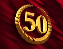Anniversary Golden Laurel Wreath And Numeral 50 On Red Flag Stock Photos