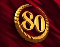 Anniversary Golden Laurel Wreath And Numeral 80 On Red Flag. 3D Illustration Royalty Free Stock Photography